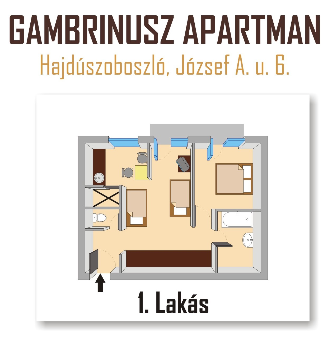 Gambrinusz Apartman Hajdszoboszl - 4 fs apartman