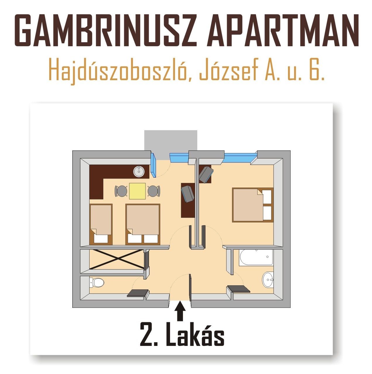 Gambrinusz Apartman Hajdszoboszl - 5 fs apartman