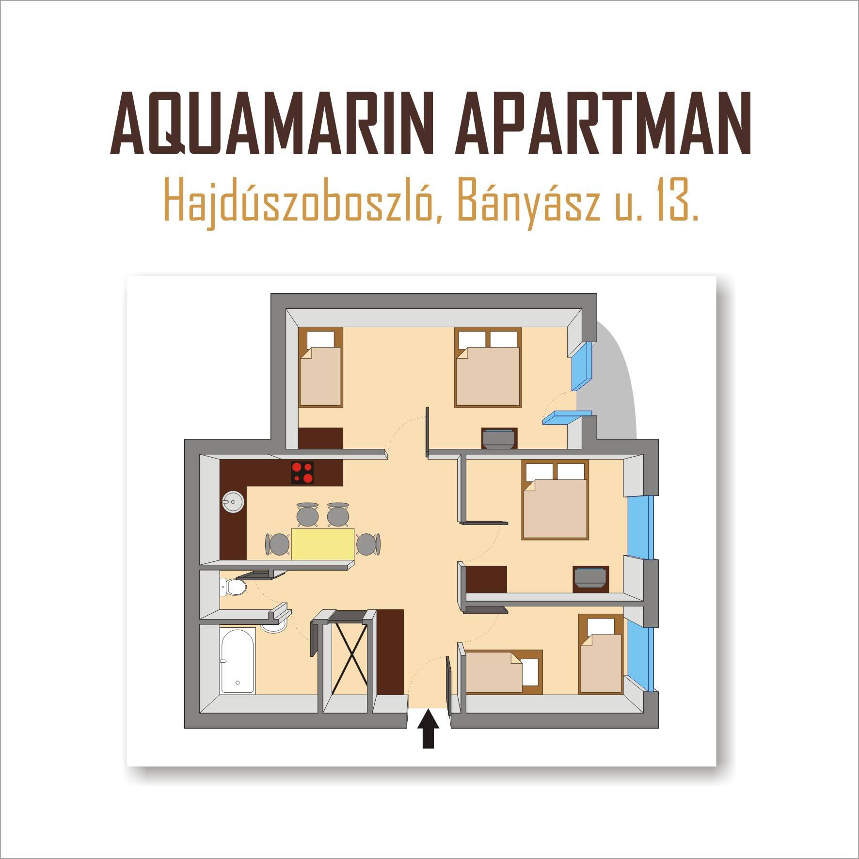Aquamarin Apartman Hajdszoboszl - Az apartman alaprajza